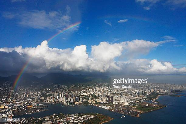 Rainbow appearing ove the Honolulu City.