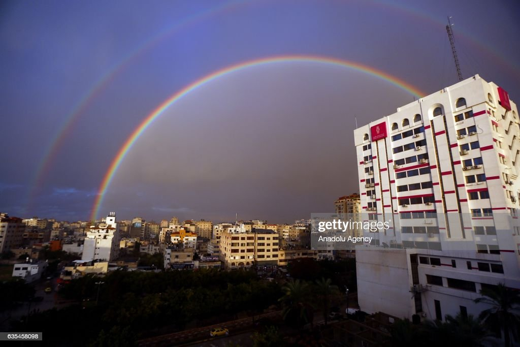 A rainbow appears after a rainfall over Gaza City, Gaza on February 15, 2017.