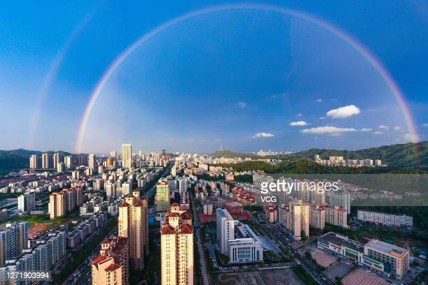 Rainbow appears in the sky after a rainfall on September 10, 2020 in Zhuhai, Guangdong Province of China.