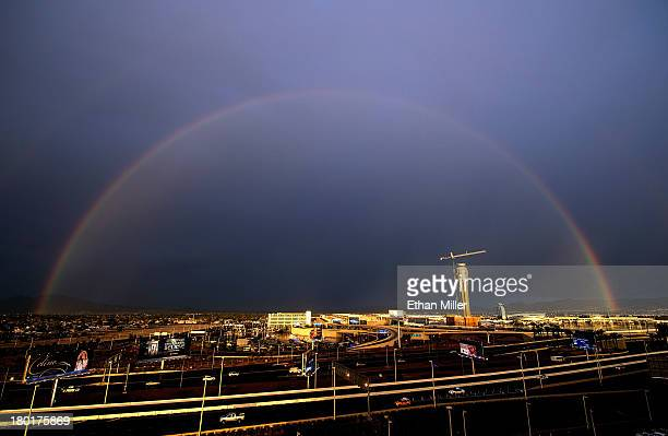 A rainbow appears over an air traffic control tower under construction at McCarran International Airport on September 9 2013 in Las Vegas Nevada A...