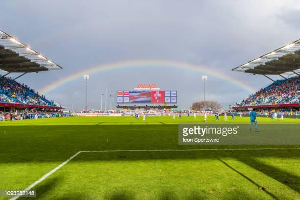 A rainbow appears over Avaya stadium during the US Men's National Team friendly soccer match against Costa Rica on February 2 2019 at Avaya Stadium...