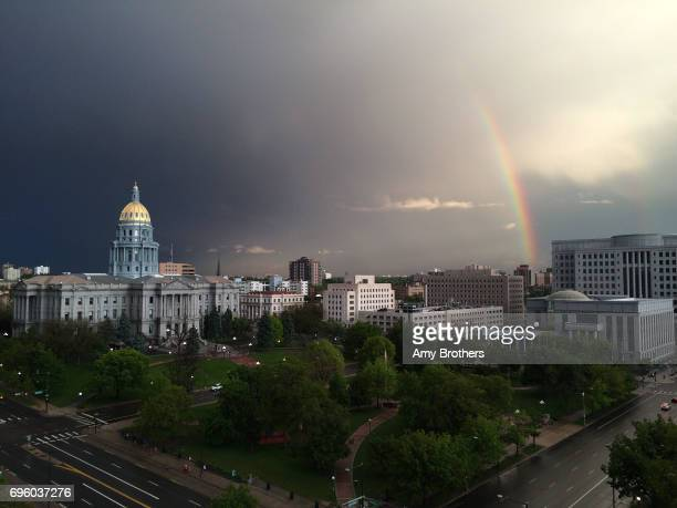 A rainbow appears over the Colorado State Capitol Building in Denver on May 25 2015