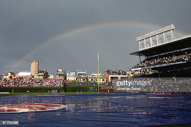 Rainbow appears over Wrigley Field following a short rain delay before the Chicago Cubs take on the Chicago White Sox on June 22, 2008 in Chicago,...