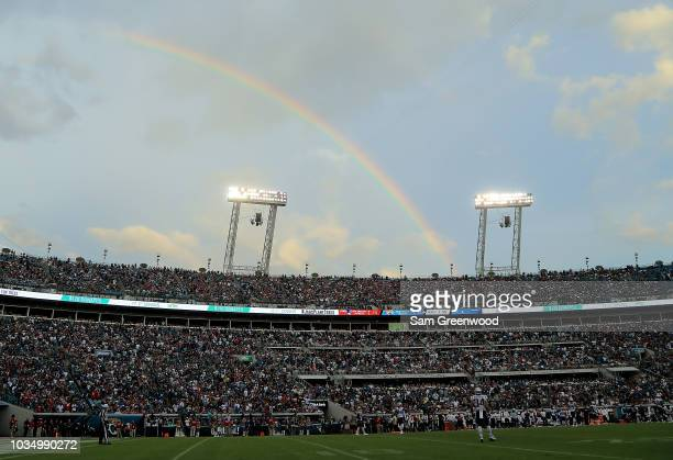 A rainbow as seen during the game between the Jacksonville Jaguars and the New England Patriots at TIAA Bank Field on September 16 2018 in...