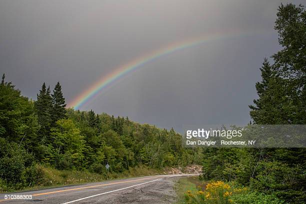 rainbow at forillon national park - forillon national park stock pictures, royalty-free photos & images