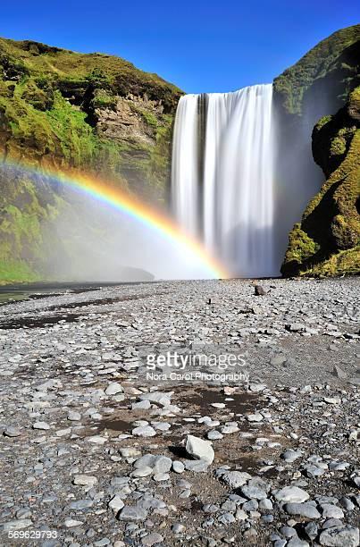 Rainbow at Skogafoss waterfall, long exposure