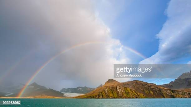 A rainbow at St Andrews Bay, South Georgia Island