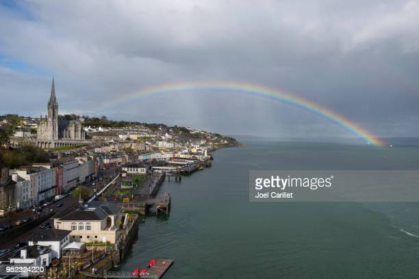 rainbow at st. colman's cathedral in cobh, ireland - county cork stock pictures, royalty-free photos & images