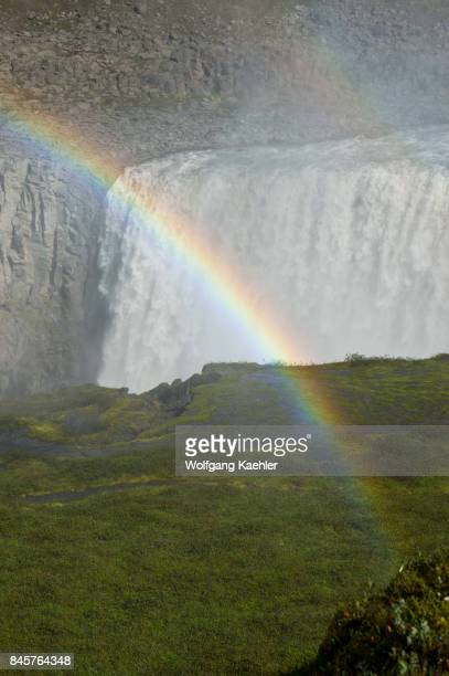 Rainbow at the Dettifoss a waterfall in Vatnajökull National Park in Northeast Iceland is one of the most powerful waterfalls in Europe