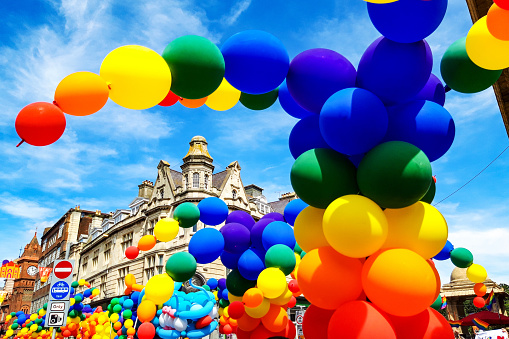Rainbow Balloons of the Pride Parade in Brighton UK - gettyimageskorea