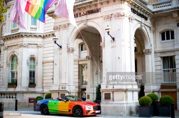 """Rainbow Bentley parked outside The Langham Hotel during the """"Henpire"""" podcast launch event at Langham Hotel on September 10, 2020 in London, England."""