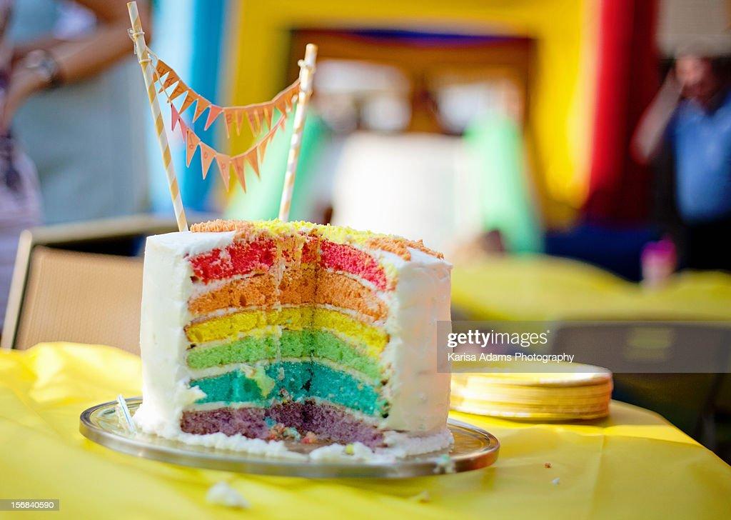 Rainbow Birthday Cake : Stock Photo