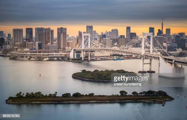 Rainbow bridge and city of Tokyo