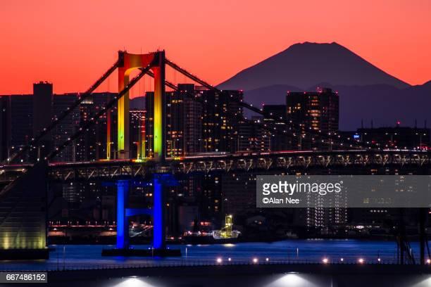 rainbow bridge and mt fuji - nee nee stock photos and pictures