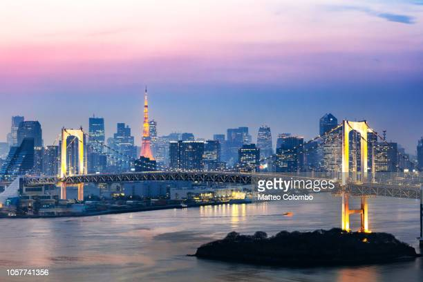 Rainbow bridge and skyline at sunset, Tokyo, Japan