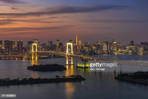 Rainbow bridge and Tokyo city view at twilight time, Tokyo, Japan