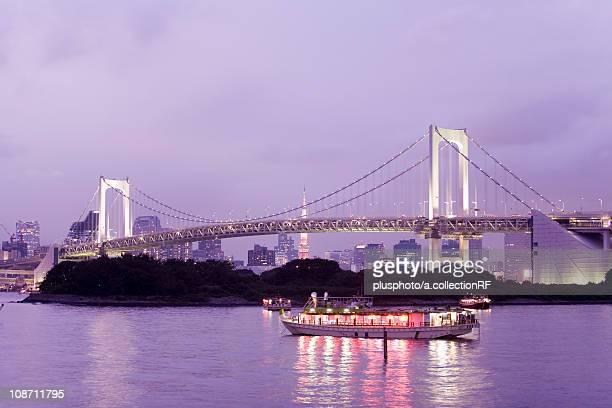 Rainbow bridge at night, Minato ward, Tokyo Prefecture, Honshu, Japan