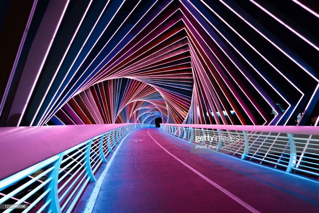 Rainbow Bridge at night : Foto stock