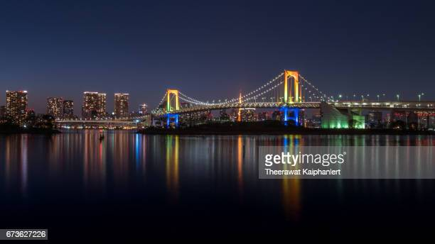 Rainbow Bridge at night, Tokyo, Japan