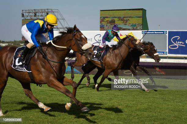 Rainbow Bridge competes and wins the Met horse race one of the richest horse races on the African continent at the Kenilworth race track on January...