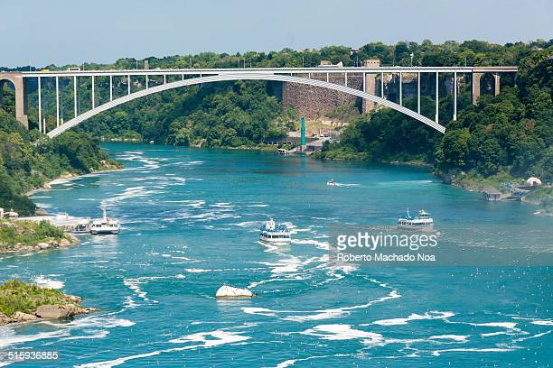 rainbow bridge in the canada-us border. - niagara river stock pictures, royalty-free photos & images