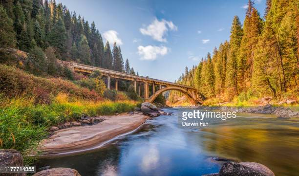 rainbow bridge, smiths ferry, idaho - idaho stock pictures, royalty-free photos & images