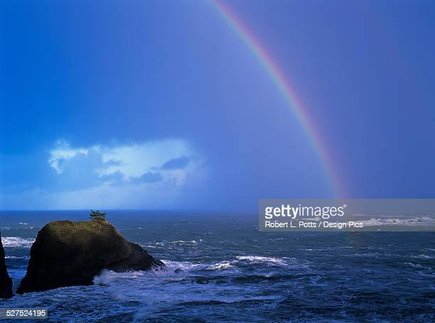 a rainbow brightens the sky over the ocean - sunset bay state park stock pictures, royalty-free photos & images