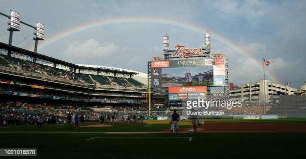A rainbow can be seen from Comerica Park before the Detroit Tigers game against the Chicago Cubs on August 21 2018 in Detroit Michigan
