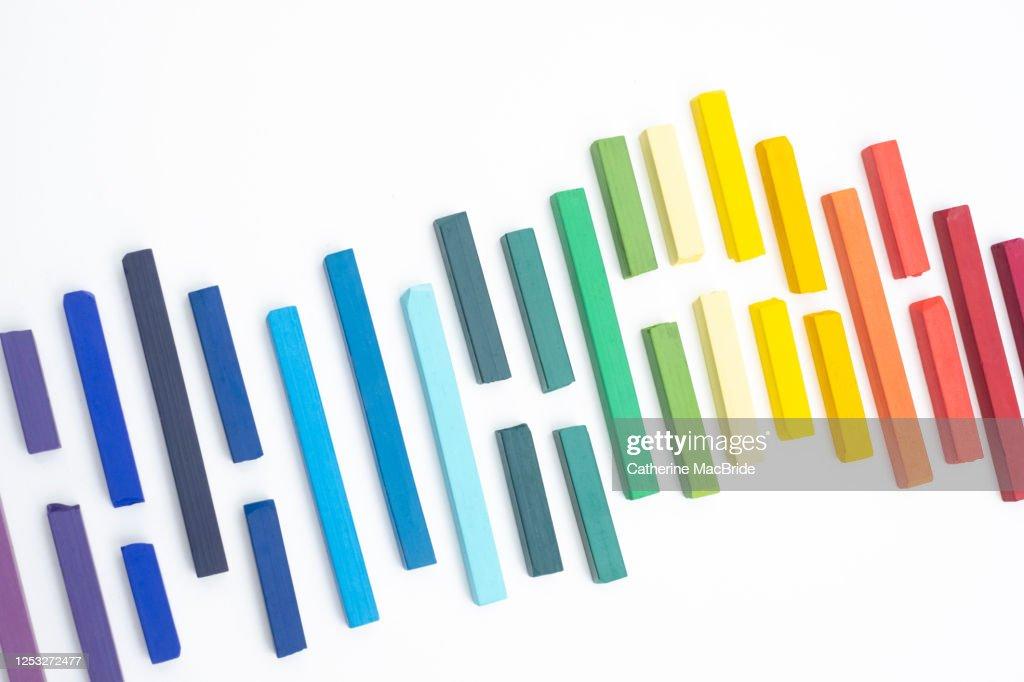 Rainbow Chalk Pastels : Stock Photo