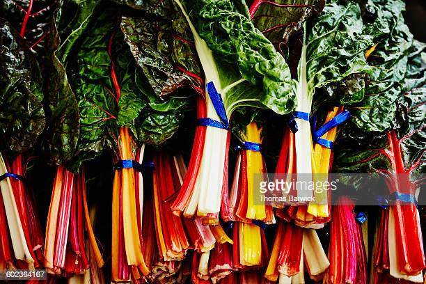 rainbow chard on display at farmers market - farm to table stock photos and pictures