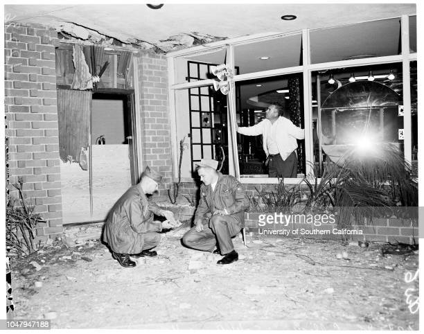 Rainbow Club bombing 23 March 1960 Art LaFontaine1st Lieutenant John A CallighanGardena police inspects bombingJohn McLaughlin Caption slip reads...