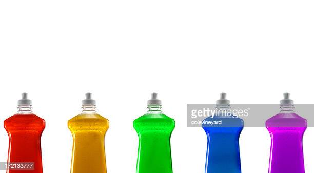 rainbow color assortment of dishwashing liquid - dishwashing liquid stock photos and pictures