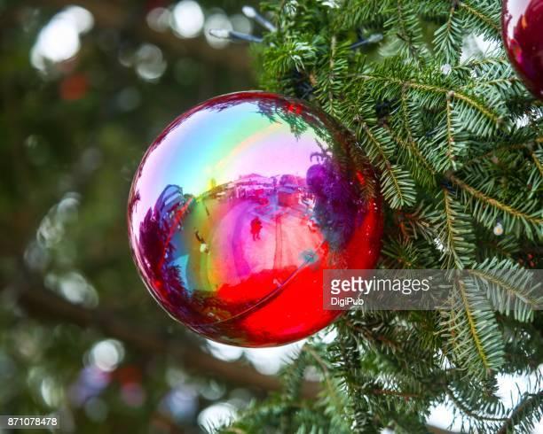 Rainbow color reflective baubles festoon Christmas tree