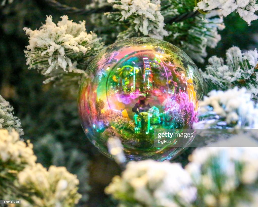 Rainbow Color Transparent Bauble Hanging In The Christmas Tree With ...