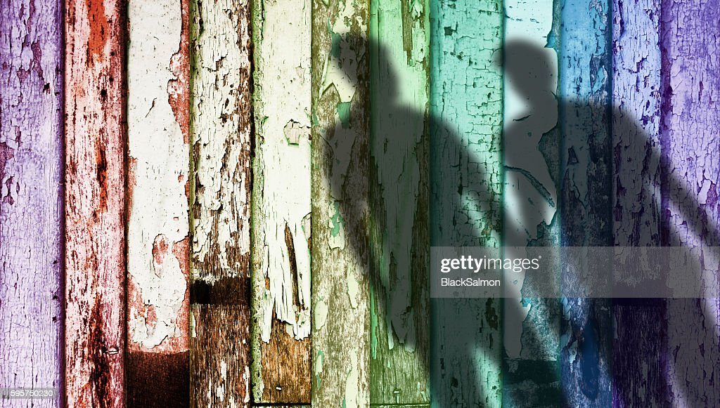 Rainbow Color Weathered Wood, Shadow Shape of Gay : Stock Photo