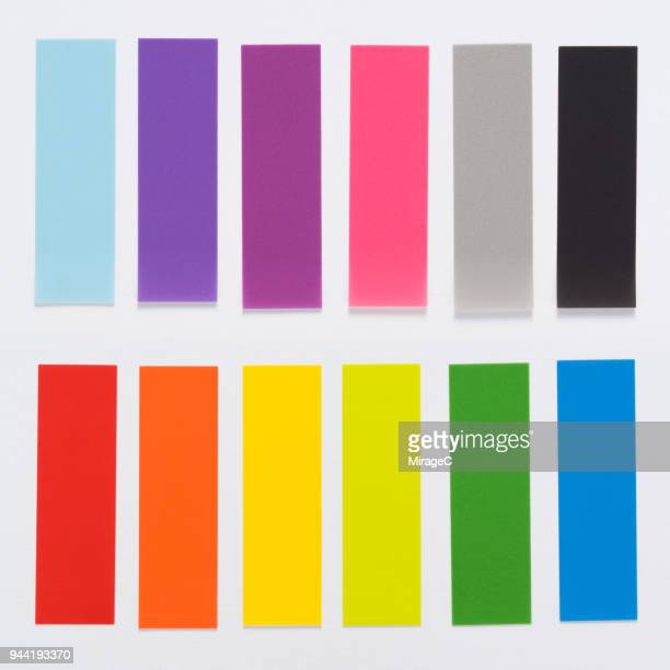 rainbow colored adhesive note - colors of rainbow in order stock pictures, royalty-free photos & images