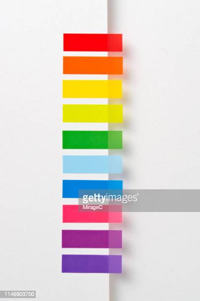 rainbow colored adhesive tags - colors of rainbow in order stock pictures, royalty-free photos & images