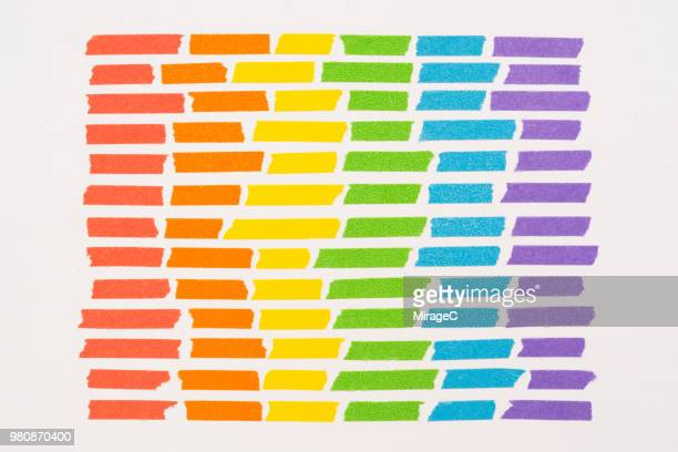 rainbow colored adhesive tapes stripes - colors of rainbow in order stock pictures, royalty-free photos & images