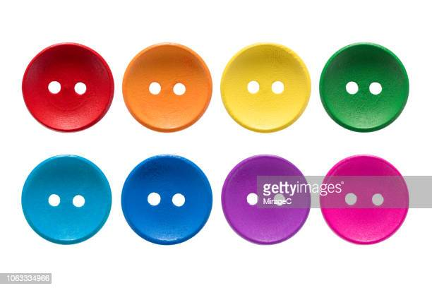 rainbow colored buttons - button stock pictures, royalty-free photos & images