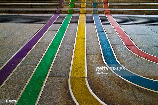 rainbow colored lines - street art stock pictures, royalty-free photos & images