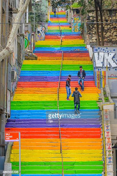 Rainbow colored stairs in Istanbul Turkey