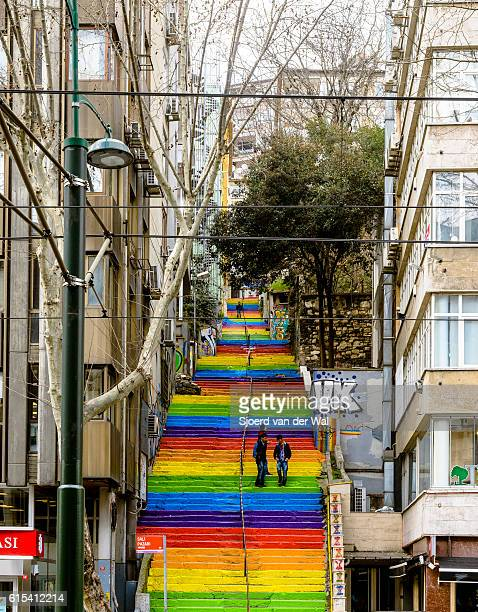 """rainbow colored stairs in istanbul turkey - """"sjoerd van der wal"""" stock pictures, royalty-free photos & images"""