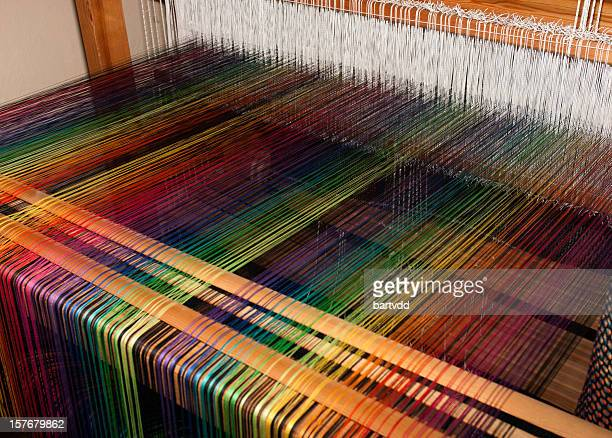 rainbow colored weave on a loom - loom stock pictures, royalty-free photos & images
