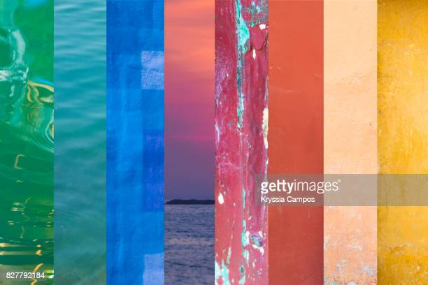 rainbow colors collage - spectrum stock pictures, royalty-free photos & images