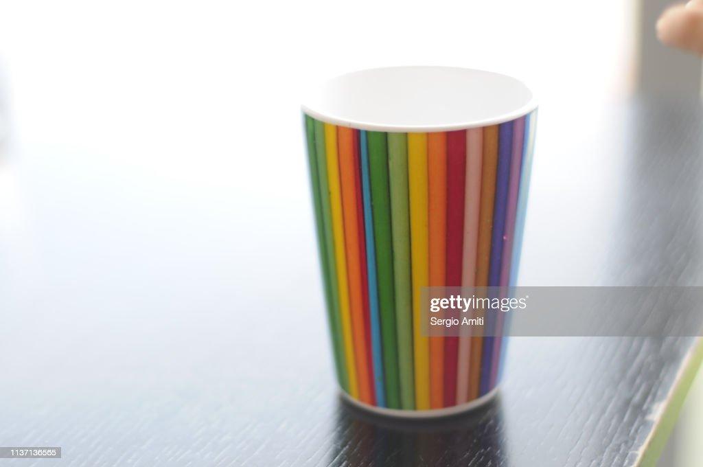 Rainbow colour mug : Stock Photo