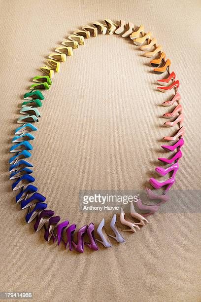 Rainbow coloured shoes in oval shape