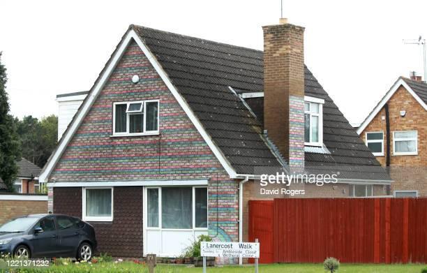 Rainbow colours on individually chalked bricks on a house during the Coronavirus lockdown on April 27 2020 in Northampton England British Prime...