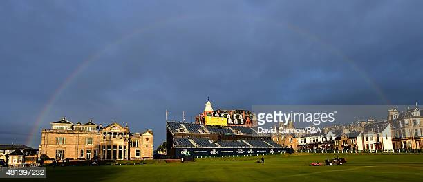 A rainbow comes out over the Royal and Ancient clubhouse after the third round of the 144th Open Championship at The Old Course on July 19 2015 in St...
