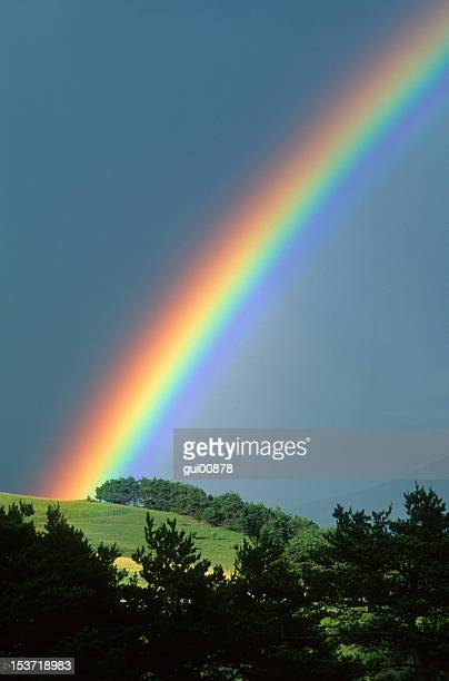 Rainbow coming up over a hillside