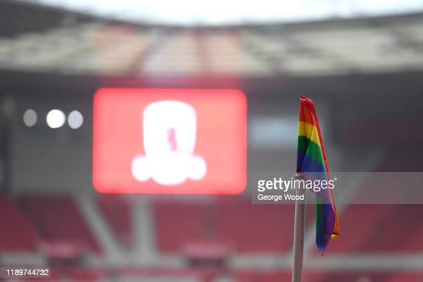 Rainbow corner flag is seen in support of LGBT charity campaigner Stonewall prior to the Sky Bet Championship match between Middlesbrough and Hull...